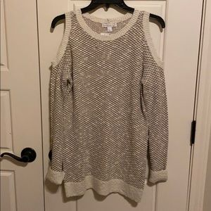 This is cold shoulder sweater